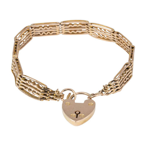 Vintage 9ct Rose Gold 5 Bar Fancy Gate Bracelet with Heart Padlock