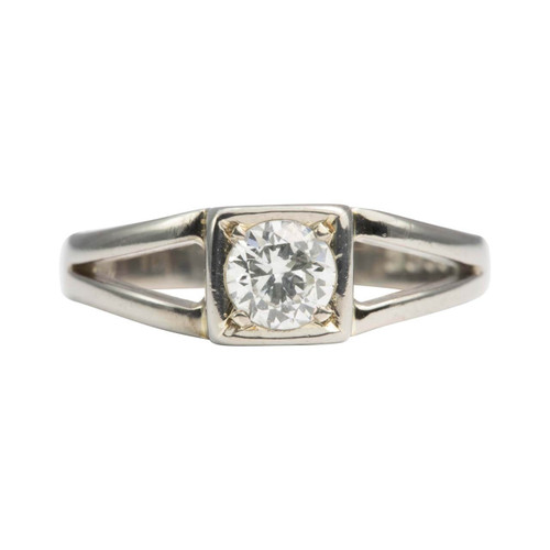 Second Hand 18ct Gold Square Set Diamond Solitaire Engagement Ring