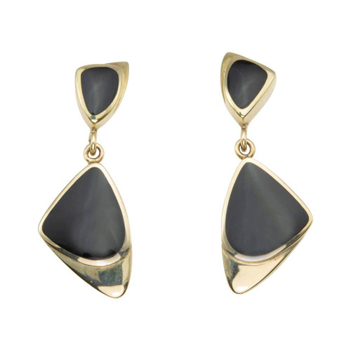 Second Hand 9ct Gold and Onyx Geometric Drop Earrings