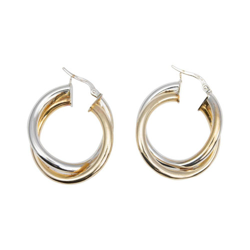 Second Hand 9ct 2 Colour Gold Double Hoop Earrings
