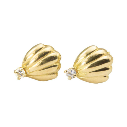 Second Hand 18ct Gold Diamond Fan Earrings