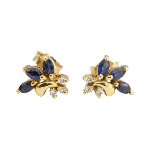 Second Hand 18ct Gold Sapphire and Diamond Burst Design Earrings
