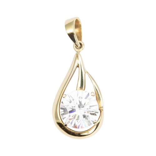 Second Hand 14ct Gold Large Cubic Zirconia Drop Pendant