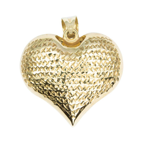 Second Hand 9ct Gold Large Diamond Cut Heart Pendant