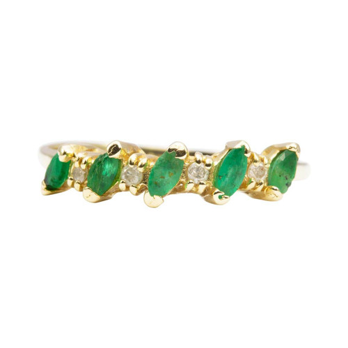 Second Hand 14ct Gold Oval Cut Emerald and Diamond Eternity Ring