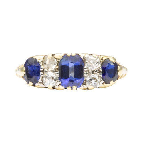 Antique 18ct Gold 3 Stone Sapphire and Diamond Ring