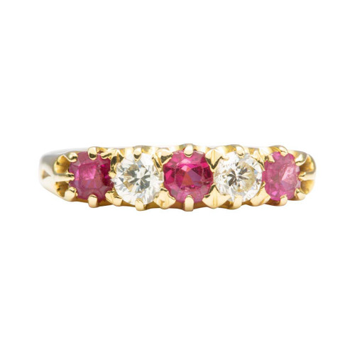 Vintage 18ct Gold Ruby and Diamond 5 Stone Ring