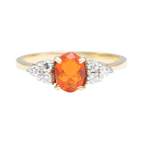 Second Hand 18ct Gold Fire Opal and Diamond Cluster Ring
