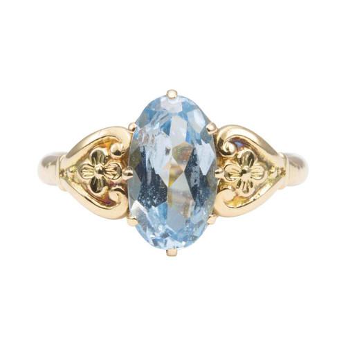 Vintage 14ct Gold Blue Topaz Ring with Floral Shoulders