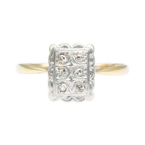 Vintage Art Deco Style 18ct Gold Diamond Panel Ring