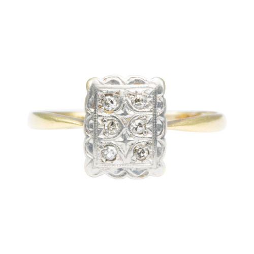 Vintage Art Deco Style 18ct Gold Diamond Panel Ring