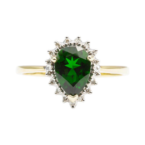 Second Hand 9ct Gold Green Spinel and Diamond Pear Shaped Cluster Ring