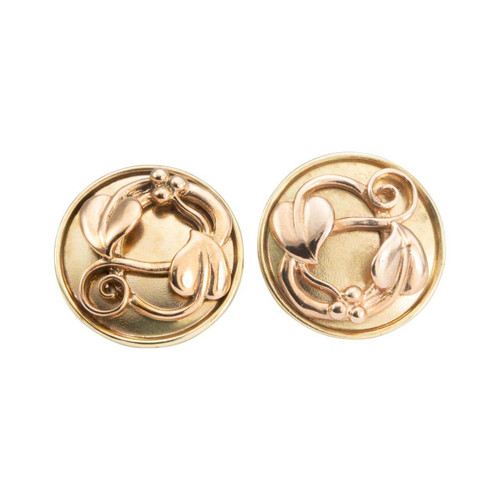 Second Hand 9ct Rose & Yellow Gold Celtic Heart Round Earrings