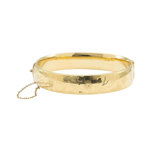 Second Hand 9ct Rolled Gold Floral Engraved Bangle
