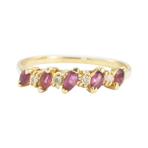 Second Hand 14ct Gold Marquise Ruby & Diamond Half Eternity Ring