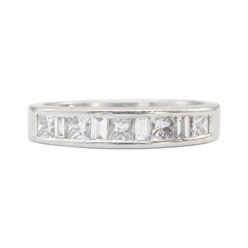 Second Hand Platinum Channel Set Princess Diamond Half Eternity Ring