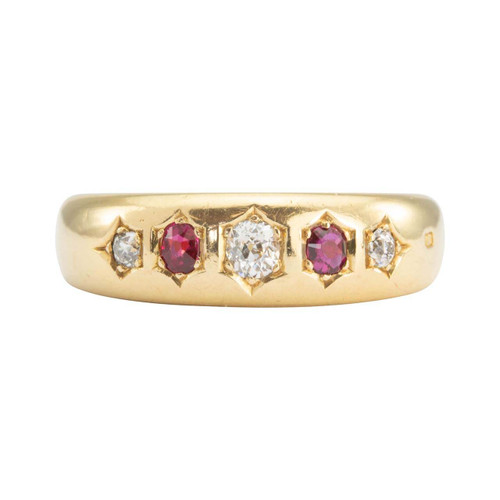 Antique Victorian 18ct Ruby & Diamond 5 Stone Gypsy Ring