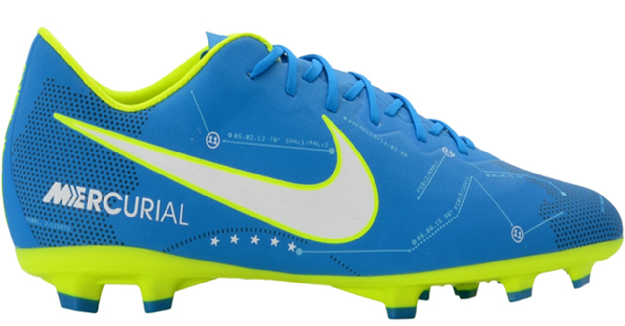 100% authentic c314b e88fa Nike Neymar Youth Mercurial Vapor XI FG Soccer Cleats (Blue OrbitWhiteBlue