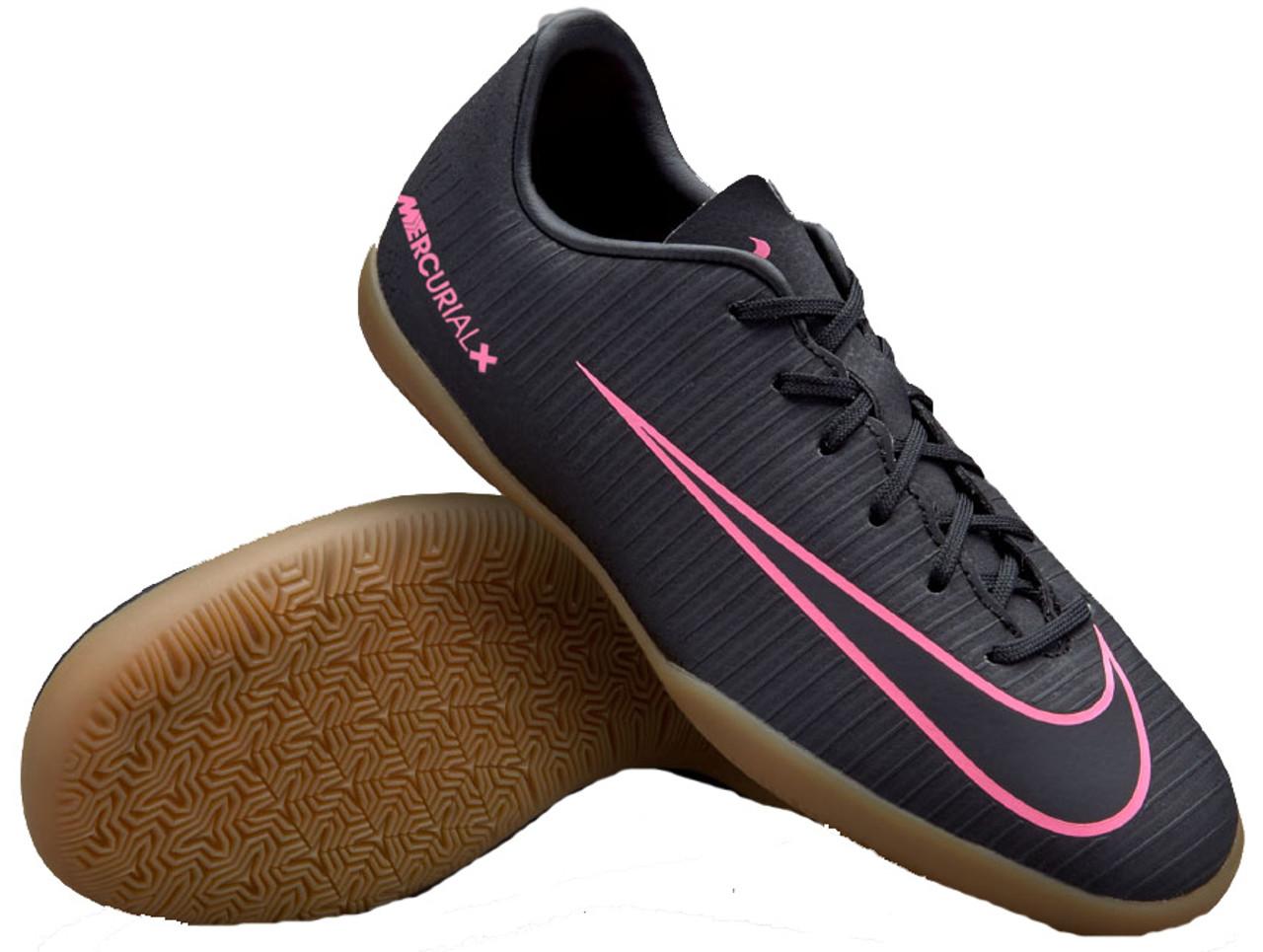 f68783843 NIKE JR MERCURIALX VAPOR XI boys indoor soccer shoes black pink - Soccer  Plus