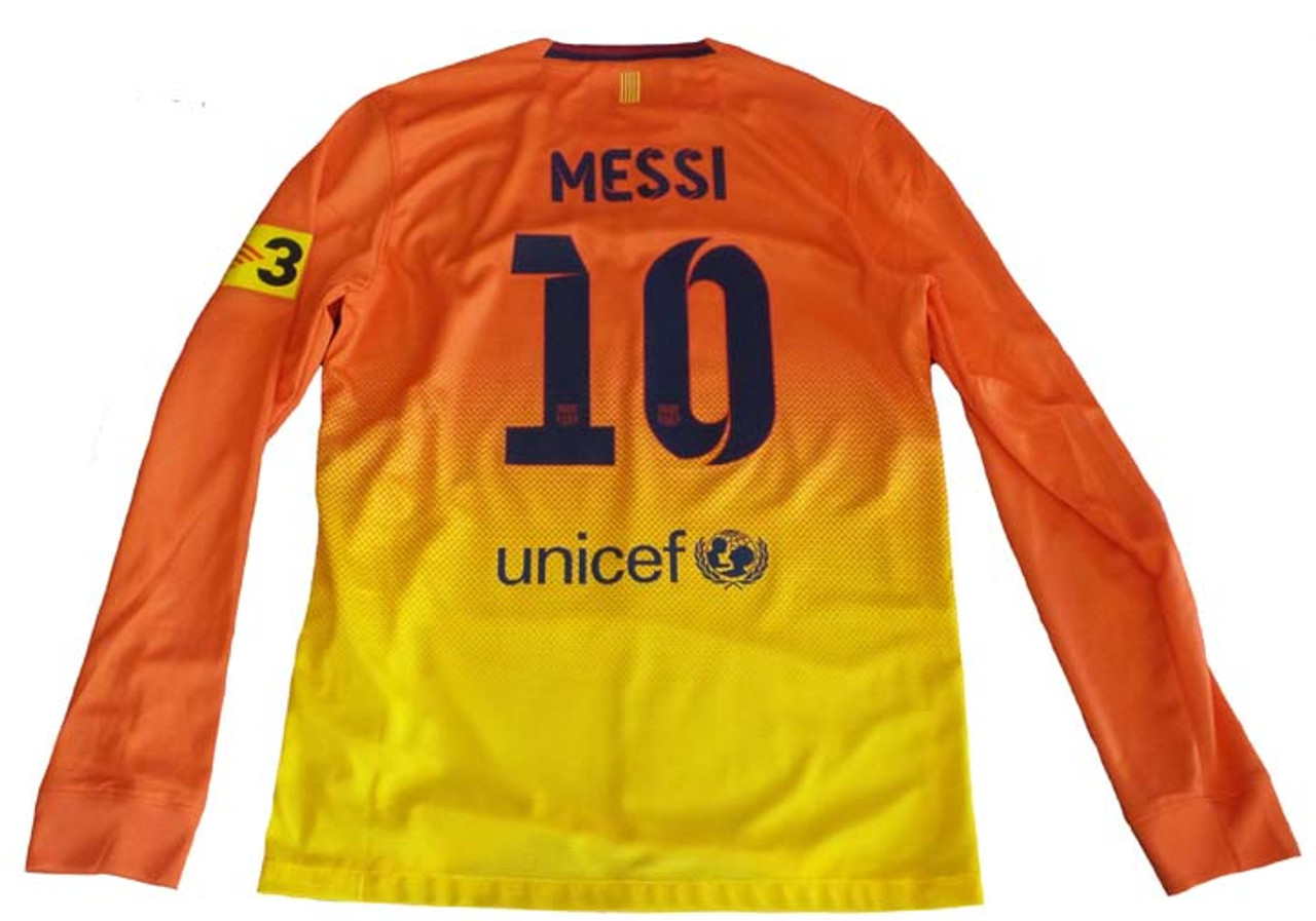 new style 60f6b 40e28 NIKE BARCELONA 2013 AWAY `MESSI` L/S JERSEY Safety Orange/Tour Yellow