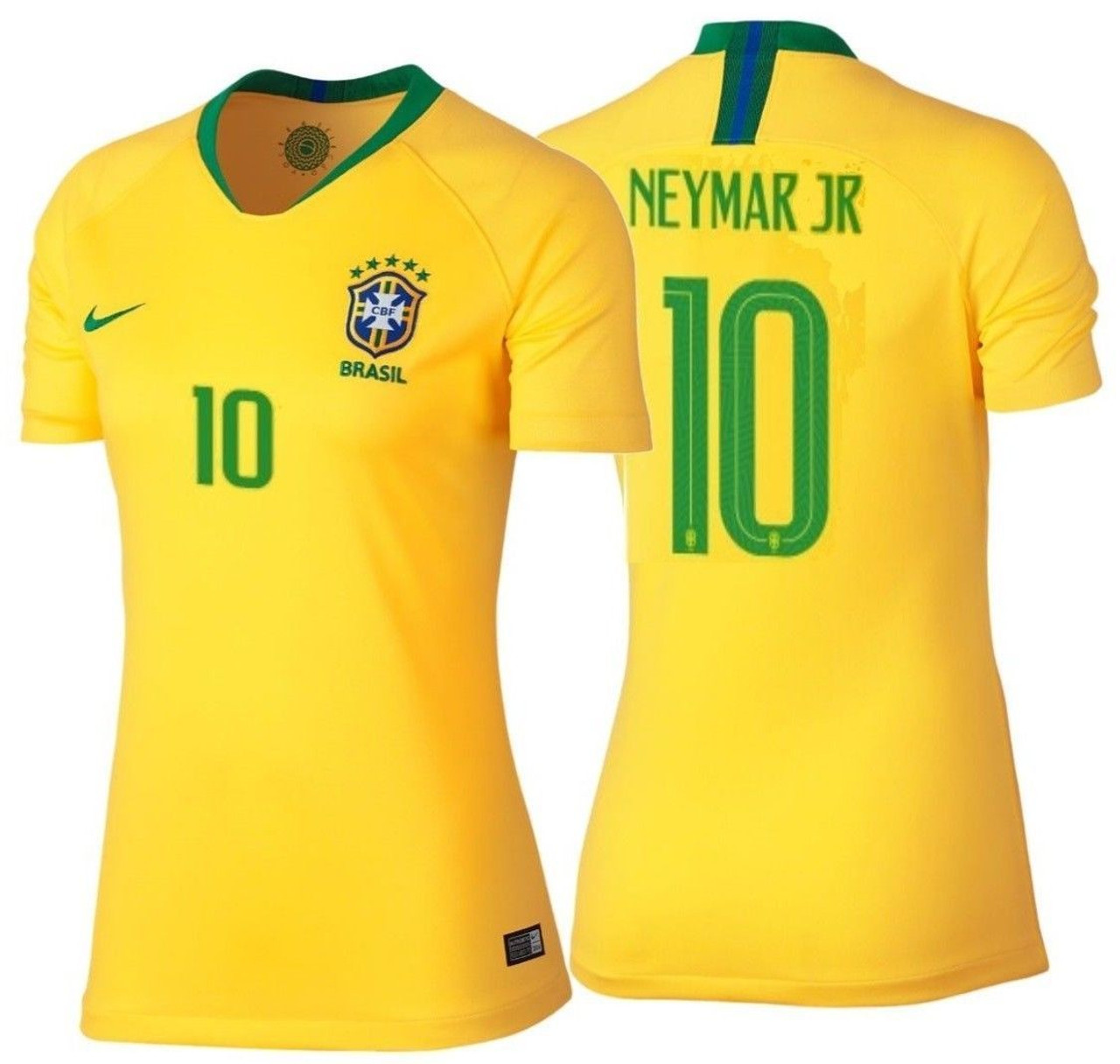 1a7bfabf8 NIKE BRAZIL 2018 WOMEN S HOME `NEYMAR`JERSEY - Soccer Plus