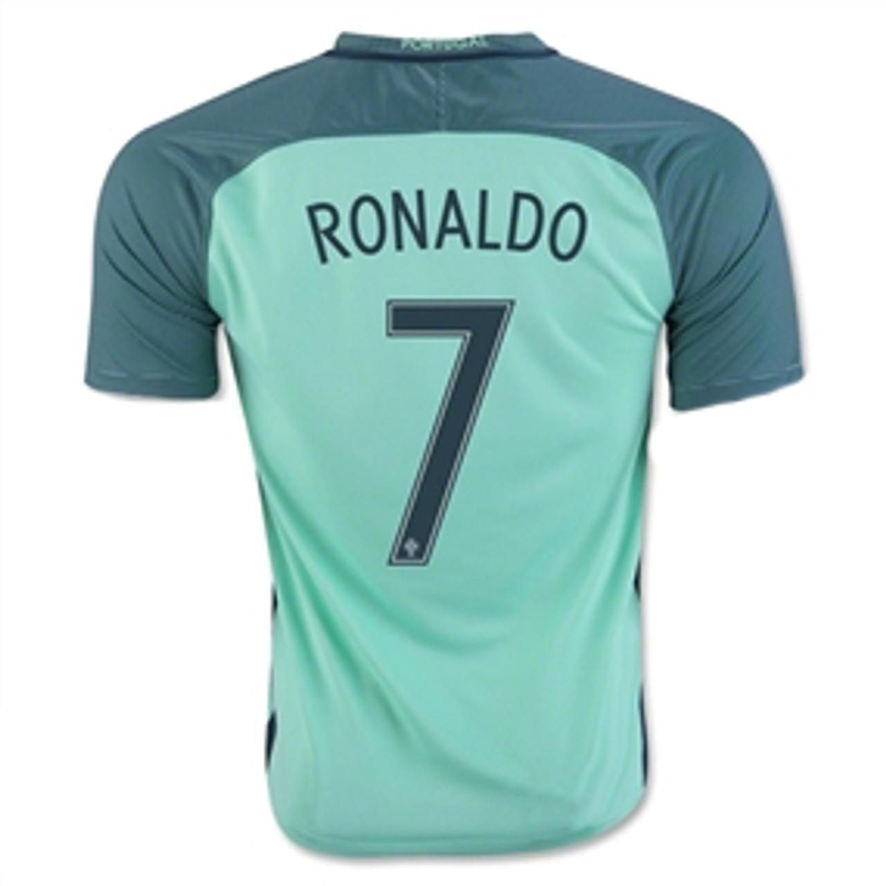 new style 9a0de c01ba NIKE PORTUGAL 2016 BOYS AWAY `RONALDO` JERSEY green