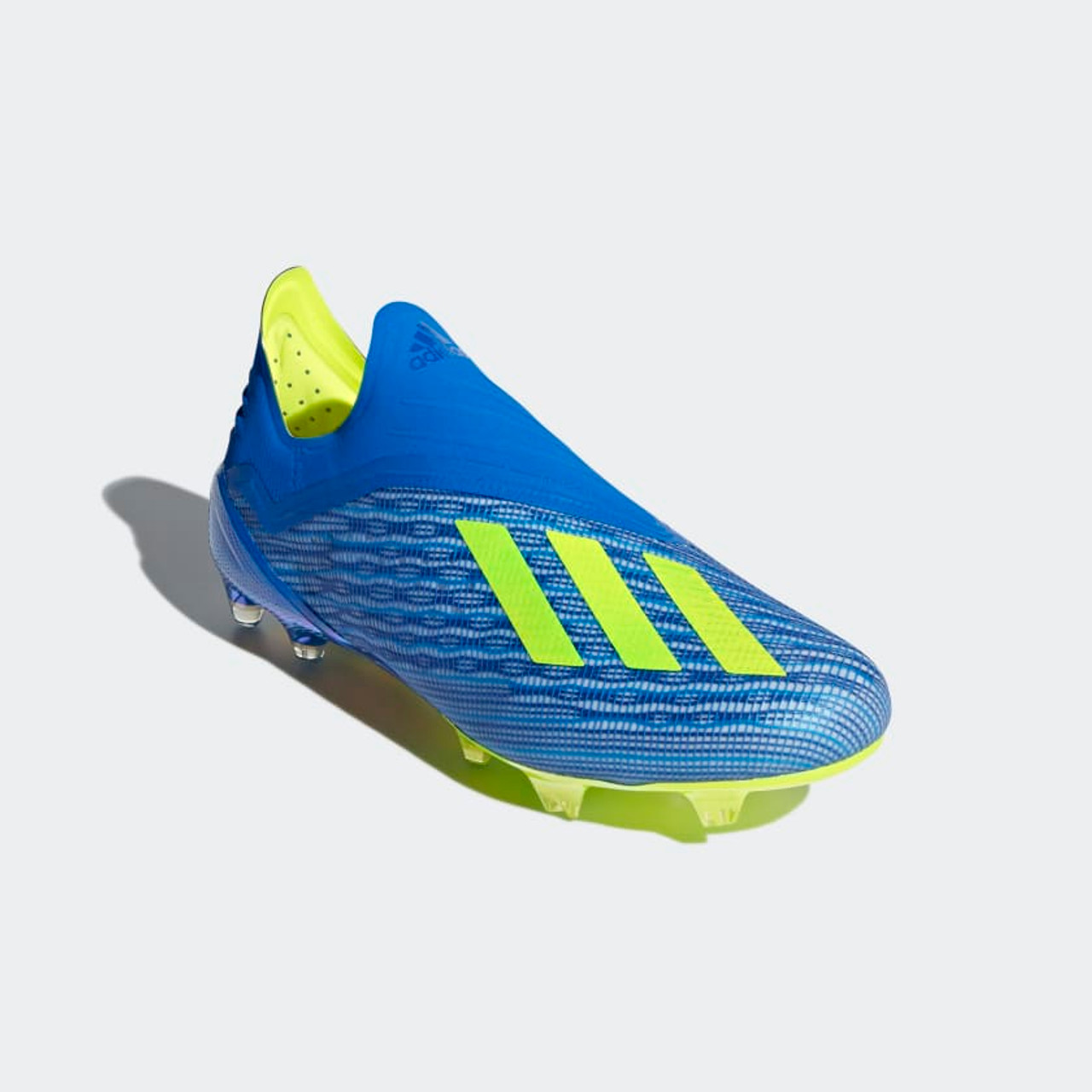 849911f0418 ADIDAS X 18+ FG Cleats Blue solar yellow - Soccer Plus