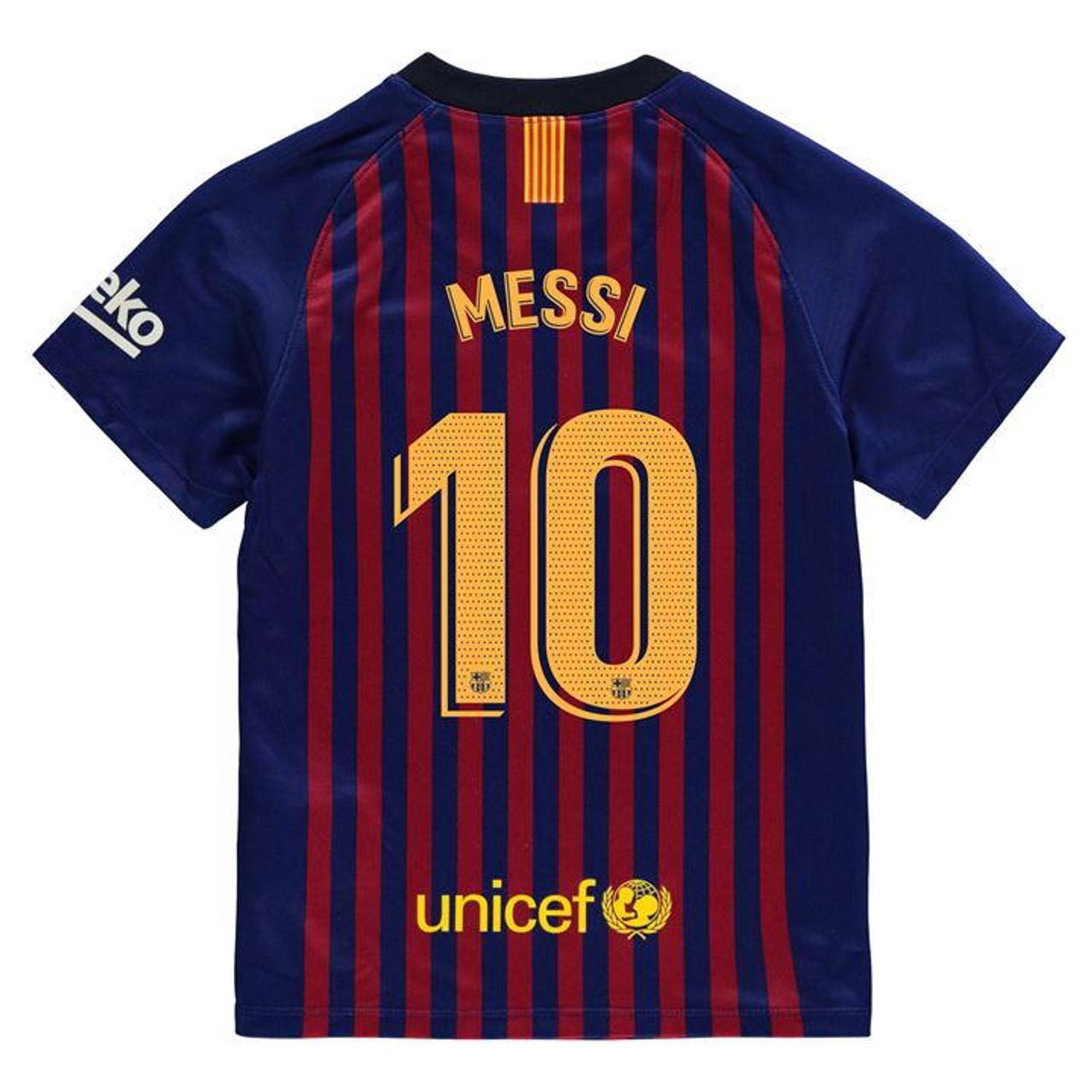 Nike Barcelona 2019 Home Boys Messi Jersey Soccer Plus