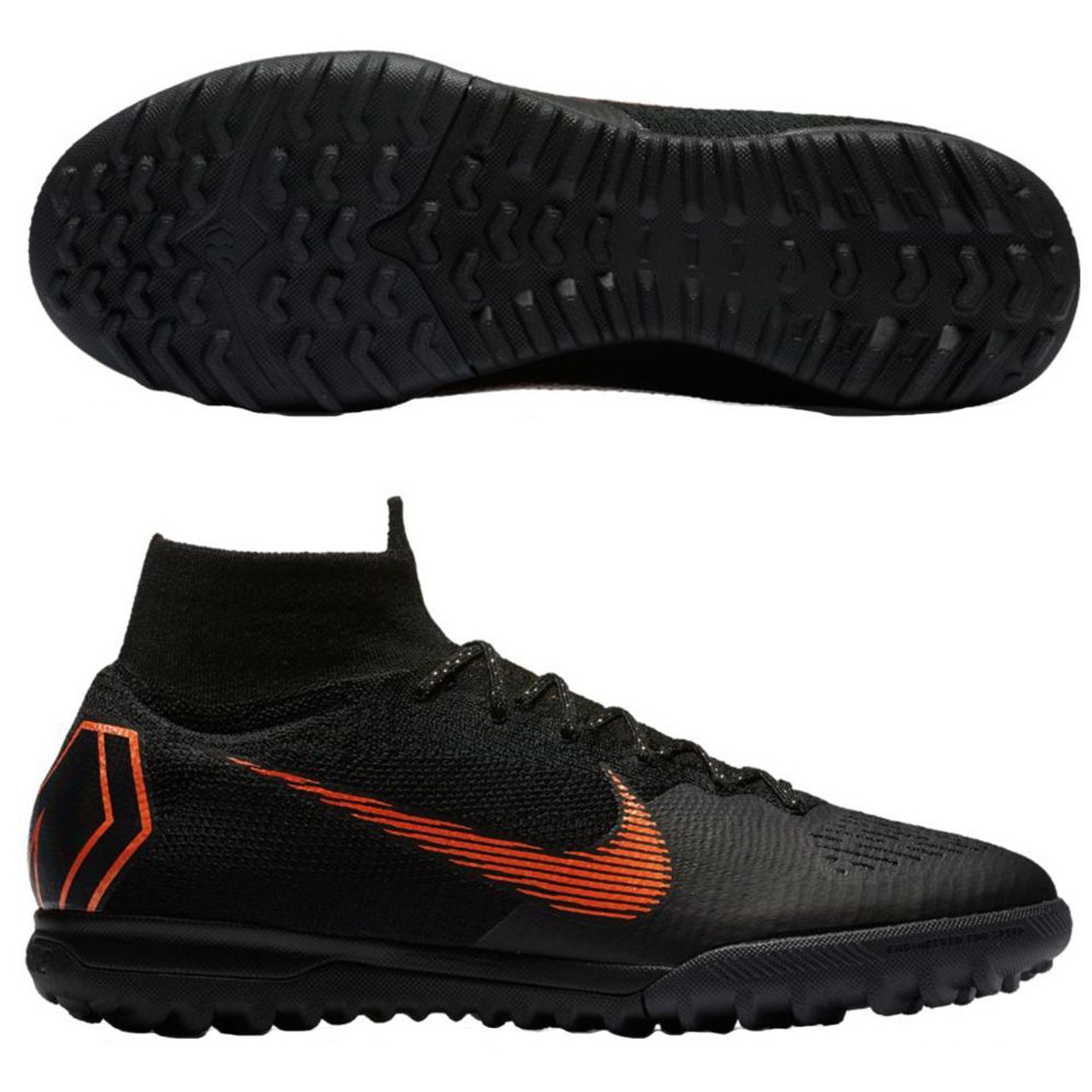 new arrival ee0de 13dee NIKE MERCURIAL SUPERFLY X VI ELITE TF Artificial Turf Soccer Shoe - Black Total  Orange - Soccer Plus