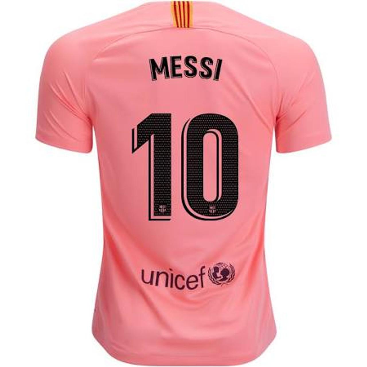 Nike Barcelona Boys 2019 Messi 3rd Jersey Pink Soccer Plus