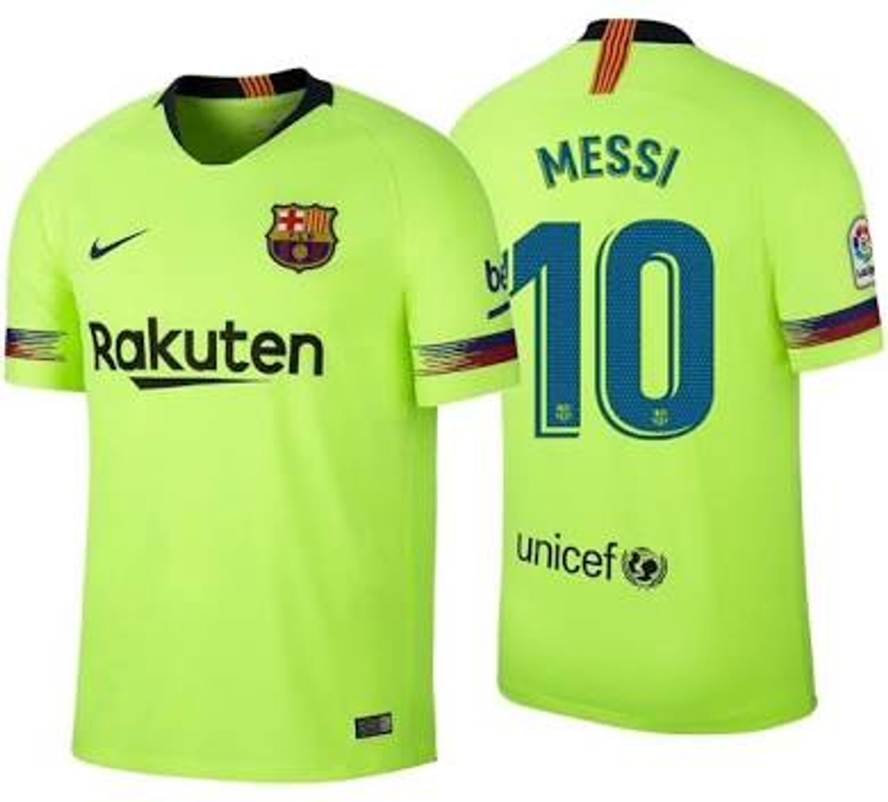 Nike Barcelona 2019 Away Messi Jersey Volt Soccer Plus
