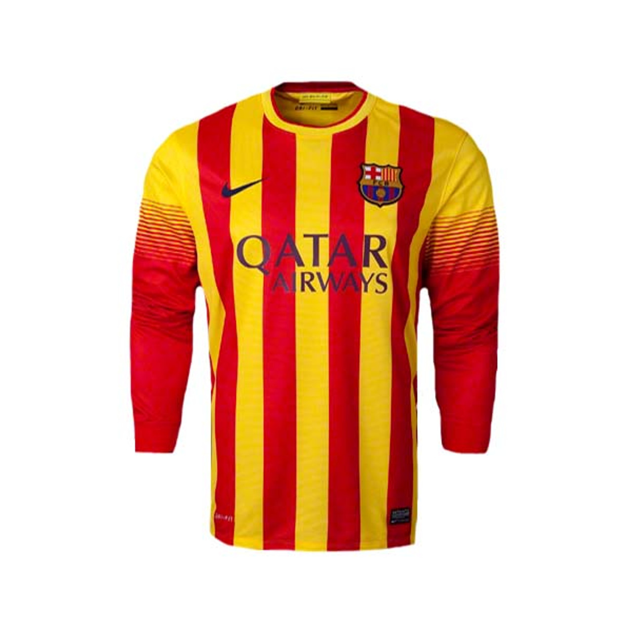 newest f6289 66538 NIKE BARCELONA 2014 AWAY L/S JERSEY RED/YELLOW
