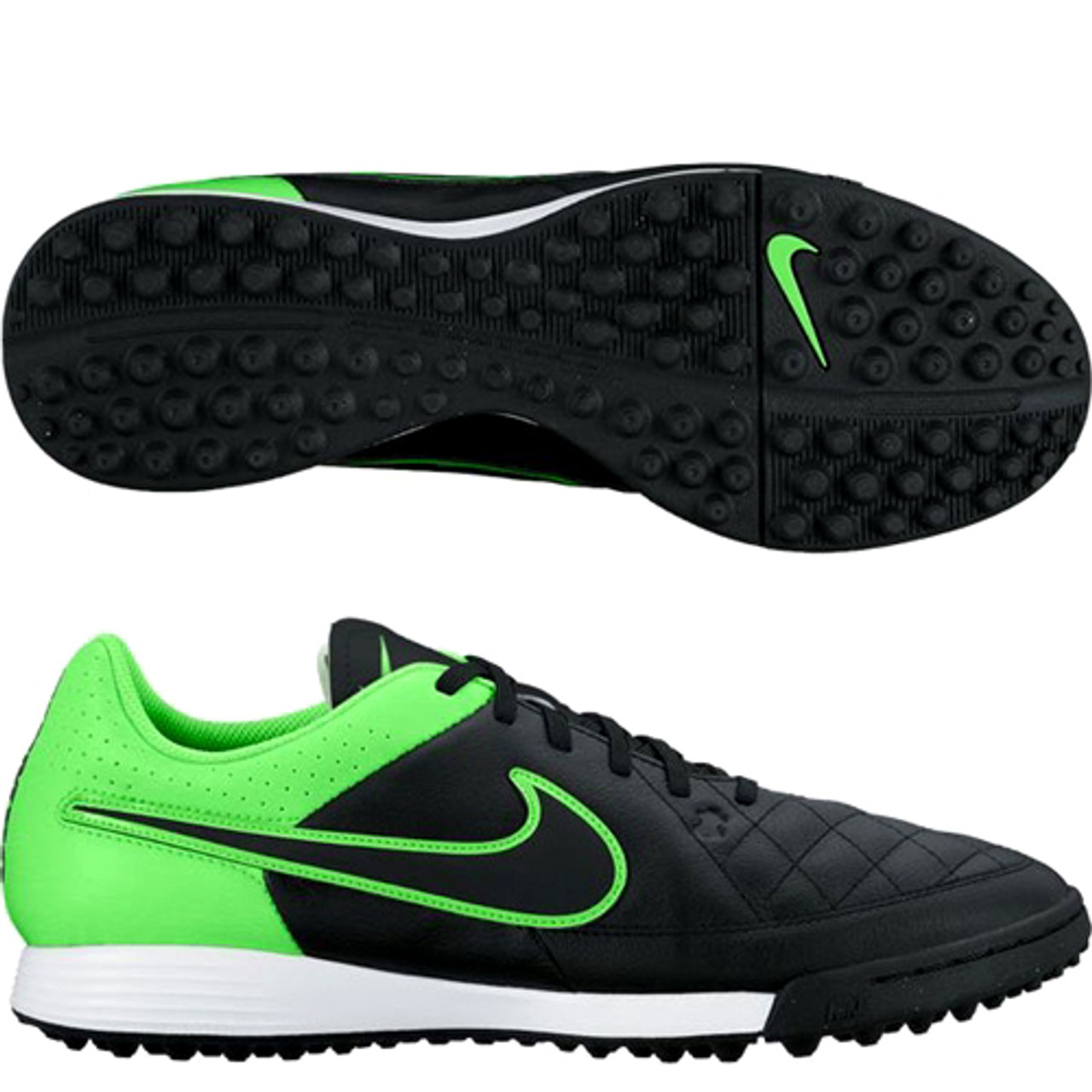 newest 84551 fa65a NIKE TIEMPO GENIO LEATHER TF BLACK/GREEN