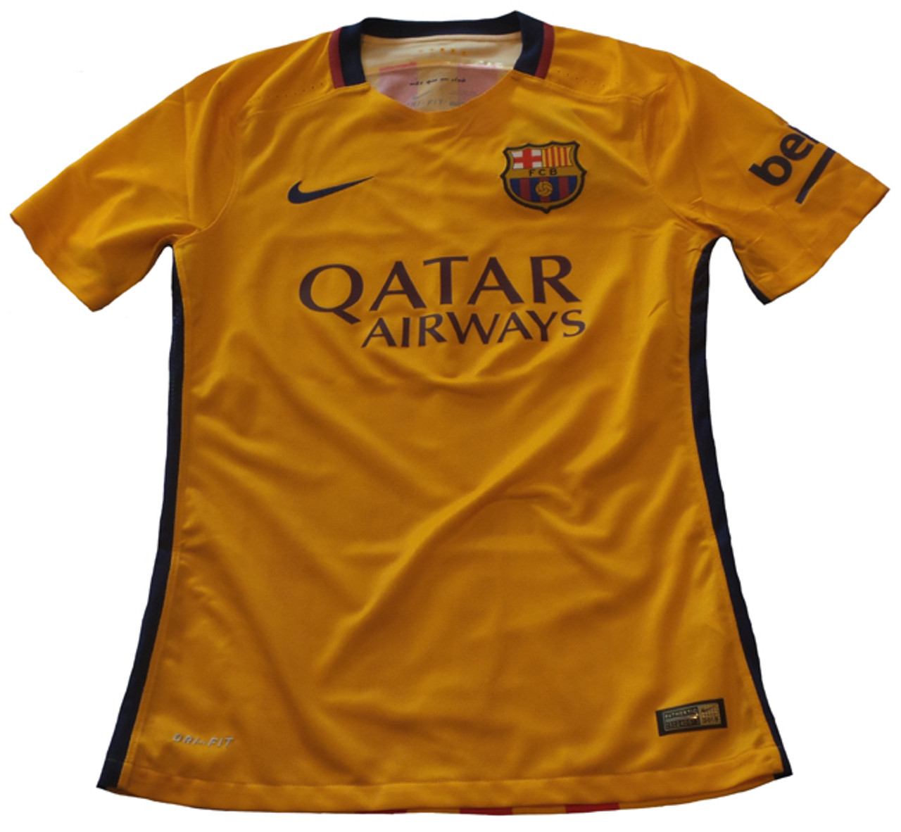 buy popular 67175 39b43 NIKE BARCELONA 2016 AWAY AUTHENTIC JERSEY GOLD/RED