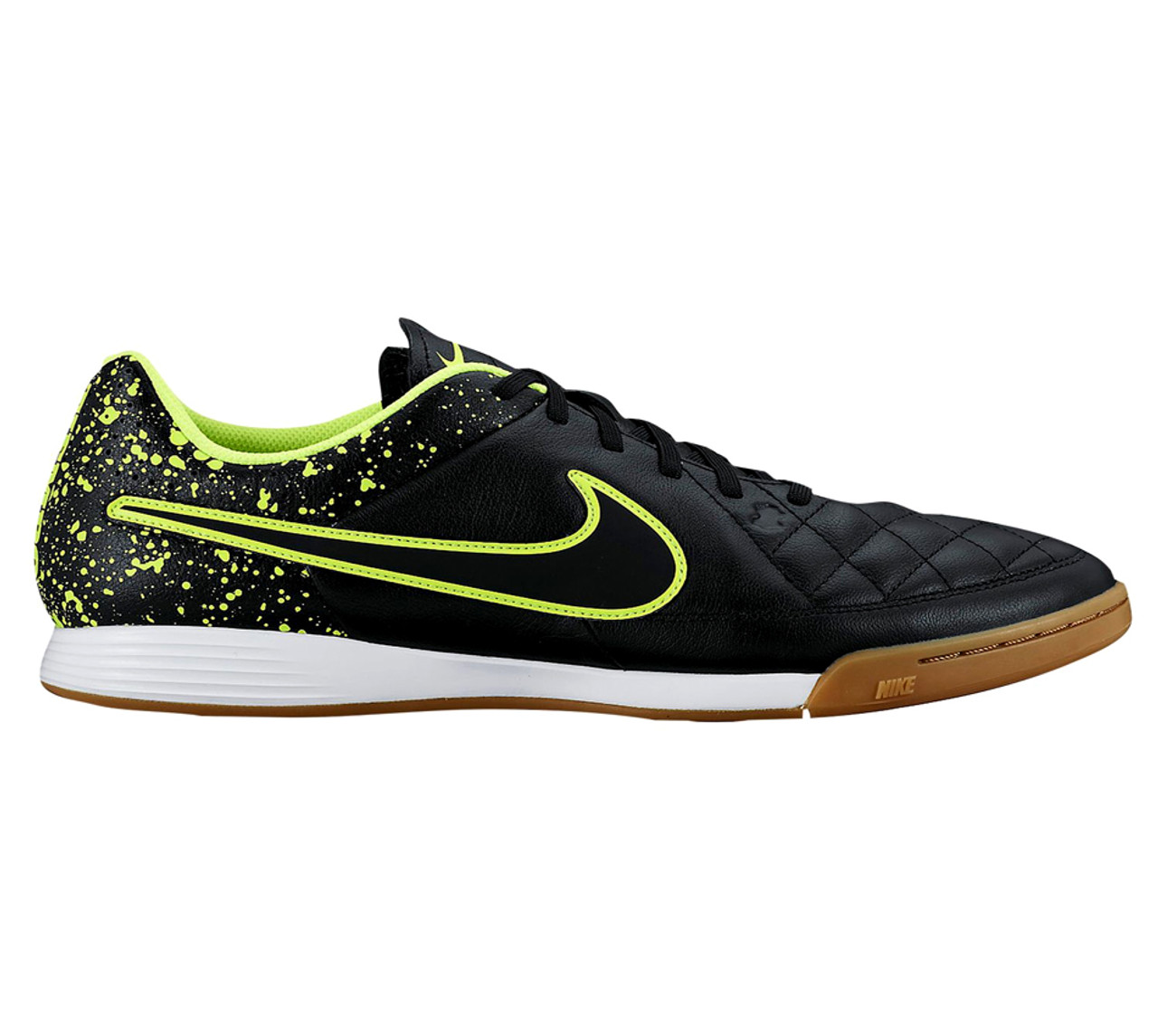 79b3037c9b4 NIKE TIEMPO GENIO LEATHER IC BLACK VOLT indoor soccer shoes - Soccer ...