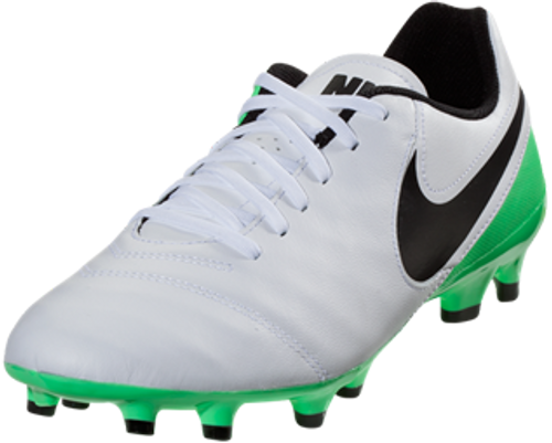 pretty nice 6f29c 6ef3a NIKE TIEMPO GENIO LEATHER II FG soccer cleats white/electro green