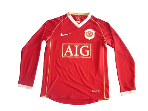 official photos fd953 529cb NIKE MANCHESTER UNITED 2007 BOYS HOME L/S JERSEY