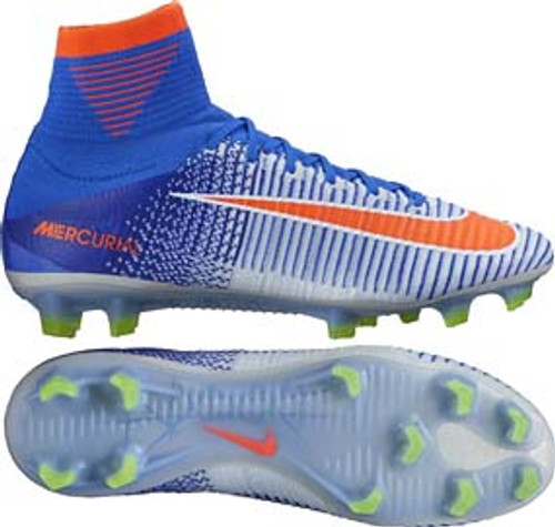 Nike Womens Mercurial Superfly V FG White   Racer Blue - Soccer Plus 0cc00ee74