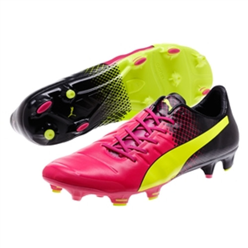 22b30aab8ea PUMA evoPOWER 1.3 Tricks FG Soccer Cleats (Pink Glo Safety Yellow Black)