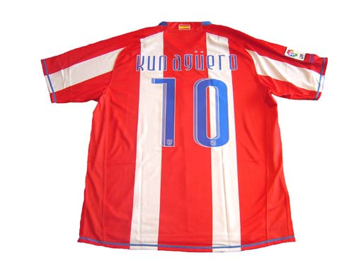 new product 79ba9 d0f14 NIKE ATLETICO MADRID 2009 `KUN AGUERO` HOME JERSEY