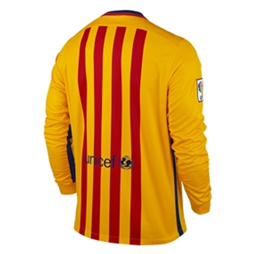 best service 337c6 47e79 NIKE BARCELONA 2016 AWAY L/S JERSEY GOLD/RED