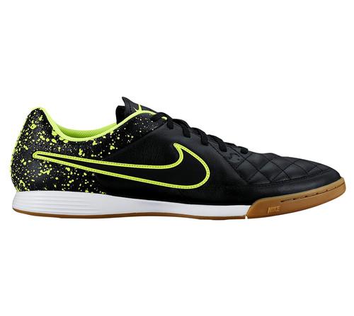 5c0c80844d3 NIKE TIEMPO GENIO LEATHER IC BLACK VOLT indoor soccer shoes