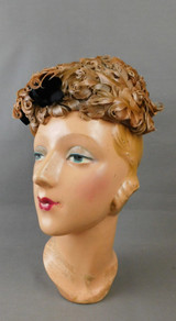 Vintage Feather Hat Curly Feathers with Black Bow by Mr. Arnold Actualite, 1960s Unusual