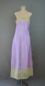 Vintage 1920s Purple Silk Nightgown or Long Slip, 34 bust, Wide Cotton Lace