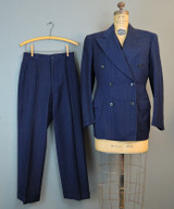 Vintage Men's 1930s Navy Pinstriped Suit, Jacket Waistcoat & 2 Pairs of Pants