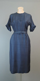 Vintage 1950s Navy Dress 35 bust, Fantail Pleats Dressy Rayon