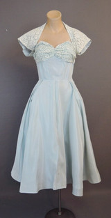 Vintage 1950s Strapless Dress with Shrug, light blue 34 bust Taffeta and Lace