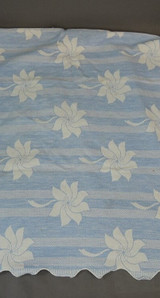 Vintage Double Woven Cotton Fabric Panels, Blue Floral, like Bates blanket, with issues