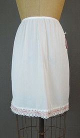 Vintage 1960s 'Sears Doesn't Slip' White Nylon Half Slip with Pink Floral Trim, 24 - 29 waist