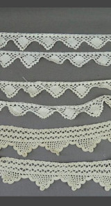 Antique Crochet Lace Trims, Edwardian Lingerie 1900s Handmade Lace 3 Pieces